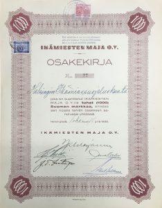 Ikämiesten Maja Oy:n osakekirja
